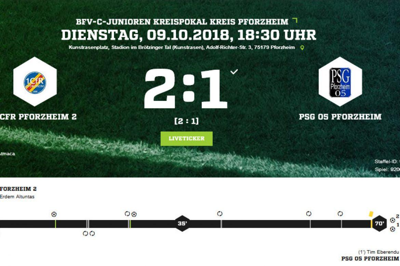 Kreispokal: C2-Junioren erreichen Viertelfinale